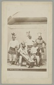 view Portrait of Musicians, One with Violin and One with Harp, And Deer Dancer in Costume digital asset: Portrait of Musicians, One with Violin and One with Harp, And Deer Dancer in Costume