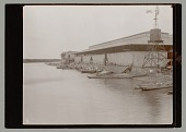 view Group of Men and Boats at Market Place on River digital asset: Group of Men and Boats at Market Place on River