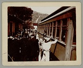view Group of Natives and Non-Natives by Excursion Train at Station digital asset: Group of Natives and Non-Natives by Excursion Train at Station