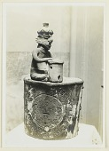 view Box?:Figure of Musician Playing Drum on Lid:from Sierra Nayarit digital asset: Box?:Figure of Musician Playing Drum on Lid:from Sierra Nayarit