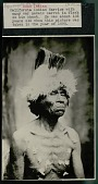 view Old Warrior with War Medals Carved in Flesh on his Chest And Wearing Feather Headdress 1890 digital asset number 1