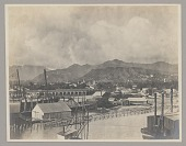 view Pali Mountain from Pilot House Showing Habitations, Churches, Commercial Buildings, Pier, and Sailing Ship n.d digital asset number 1