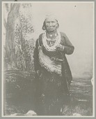 view Portrait of Male Shaman, Headman of Mestethlun Village, In Woman's Dress with Nose Plug, Dentalium Shell Beads, Collar Necklace of Beads and Coins, Dance Apron Fringed with Thimble Tinklers, and Woven Cap 1910 digital asset number 1