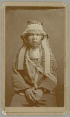 view Portrait of Captain Tom's Son Wearing Yellow Hammer (flicker?) Feathers Headband, Abalone Gorget, and Belt with Abalone Pendants 1874 digital asset number 1