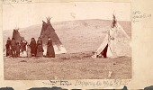 view Mrs E. S. Barry with Dakota Indians Outside Cloth-Covered Tipis n.d digital asset number 1