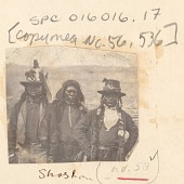 view Three Men, in Partial Native Dress and Wearing US Infantry Insignia on Hats and Army Fatigue Shirts 1868 digital asset number 1