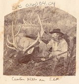 view General George Armstrong Custer Wearing Buckskin Jacket and With Rifle, Beside Elk That He Shot 1874 digital asset number 1