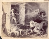 view Painting, by James Earl Taylor in 1886, of Non-Native Man Entering his Wood Frame House to Find his Wife and Infant Killed by Arrows; Bed, Spinning Wheel, Kitchen Utensils Nearby n.d digital asset number 1