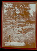 view Cookout area at ceremonial ground in the Greenleaf Mountains between Braggs and Illinois Station, OK 1908 digital asset number 1