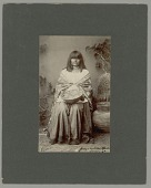 view Portrait of Polly in Native Dress, Holding Nearby Basket With Large Basket 1900 digital asset number 1