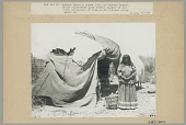 view Woman in Native Dress with Burden Basket Outside Wickiup 1906 digital asset number 1
