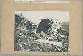 view Woman in Native Dress, Making Basket Outside Fabric-Covered Wickiup; Pitch-Covered Basket Jugs, Basket, Metate, Metal Cookware, Animal Skin and Saddle Nearby; Hide Pegged For Processing in Foreground 1907 digital asset number 1