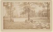 view View of Camp Showing Non-Native Men with Tent, Cooking Equipment, Tools, and Papers 1883 digital asset number 1