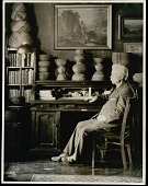 view Clinton Hart Merriam (1855-1942) at his desk with American Indian baskets, 23 FEB 1930 digital asset number 1