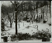 view View of snowy cemetery with Lewis Henry Morgan (1818-1881) family mausoleum at right DEC 1969 digital asset number 1