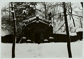 view Raymond DeMallie and Richard Weber outside Lewis Henry Morgan (1818-1881) family mausoleum in snow, DEC 1969 digital asset number 1