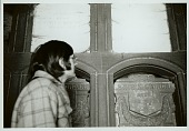view Raymond DeMallie and Richard Weber by Lewis Henry Morgan's (1818 -1881) crypt in family mausoleum, DEC 1969 digital asset number 1