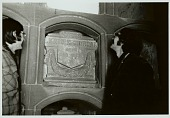 view Raymond DeMallie and Richard Weber by Lewis Henry Morgan's (1818-1881) crypt in family mausoleum, DEC 1969 digital asset number 1