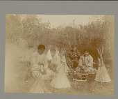 view Three Cheyenne girls with dolls and play tipis Copyright 21 OCT 1909 digital asset number 1
