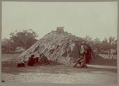 view Navajo Indians and dog outside completed medicine lodge, Copyright 18 DEC 1905 digital asset number 1