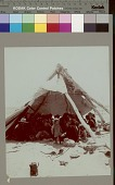 view Navajo Indians inside tipi frame, partially covered with canvas Copyright 14 OCT 1901 digital asset number 1