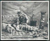 view Posed scene of Da-Yuc-Hene, Tlingit shaman, with face paint and holding femur bone over woman lying on animal skin surrounded by totems and chilkat blanket Copyright 27 JAN 1906 digital asset number 1
