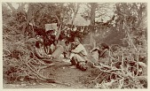 view Group, including women with infants in cradleboard, at camp with drying meat Copyright 21 JAN 1897 digital asset number 1
