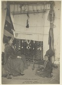 view Woman weaving blanket on vertical loom suspended from adobe wall and young girl with spindle whorl nearby Copyright 14 MAR 1906 digital asset number 1