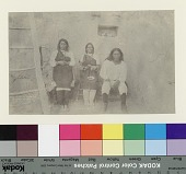 view Cacique with his wife and daughter inside adobe house courtyard with ladder Copyright 03 OCT 1892 digital asset number 1