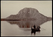 view Two men in boat with oars, in front of Torghatten mountain with characteristic hole 1892 digital asset number 1