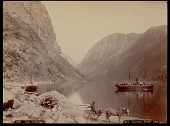 view Man in horse-drawn cart with luggage, on road near dock and wood buildings and two sailing ships and rowboat in water, with fjord and mountains in background 1892 digital asset number 1