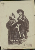view Quechua Man and Woman in Costume Drinking Liquor from Cups; Bottles Nearby 1899 digital asset number 1