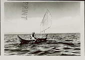 view Man in Costume in Balsa (Reed Boat) with Open Sail n.d digital asset number 1