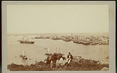 view Three Men, Two in Unifrom, on Hill Overlooking Water, Sailing Ships, Harbor and City n.d digital asset number 1