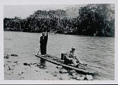 view Amahuaca Man Wearing Face Paint and in Costume with C L Chester, Non-Native Man, on Log Raft JUL 1910 digital asset number 1