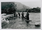 view Amahuaca Group Wearing Face Paint and in Costume, Crossing on Log Rafts JUL 1910 digital asset number 1