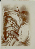 view Painting by Grace Carpenter Hudson of Young Child and Infant in Cradle Basket digital asset: Painting by Grace Carpenter Hudson of Young Child and Infant in Cradle Basket