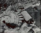 view Broken Lotus Capital Beside Hewn Stone Remnants of Temple 1954 digital asset number 1