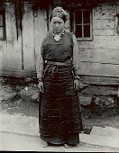 view Young Woman in Costume Outside Plank House 1954 digital asset number 1