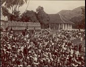 view Sinhalese people gathered for a ceremony, possibly Festival at Dalada Maligawa or Temple of Buddha's Tooth, undated digital asset number 1
