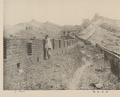 view View Along Wan-Li-Chang-Cheng, or Great Wall; Man in Costume Nearby digital asset: View Along Wan-Li-Chang-Cheng, or Great Wall; Man in Costume Nearby
