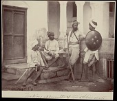 view Four Rajput men with swords, gun, and shield, undated digital asset number 1