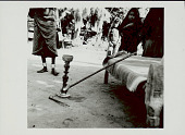 view Carved Wood Pipe with Long Stem and Metal Stand; Group In Costume and with Ornaments Nearby 1965 digital asset number 1