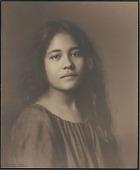 "view Portrait of Hawaiian girl, titled ""'Girlhood (front view)"" 1909 digital asset number 1"