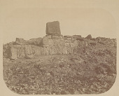 view Right Wing of Stone Ahu (Platform) with Base of Colossal Stone Moai (Lava Stone Effigy Figure) DEC 1886 digital asset number 1
