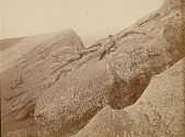 view Man Inside Volcano Inner Crater Near Ancient Stone Statues Of Upper Workshop DEC 1886 digital asset number 1