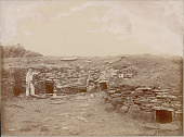 view Sailor in Uniform Outside Ruins of Subterranean Stone Houses with Post and Lintel Doorway DEC 1886 digital asset number 1