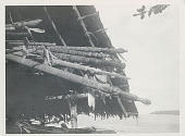 view Du Yong Handles with Carved and Painted Fish Spears Inside Pole and Thatch Shelter Near Water n.d digital asset number 1