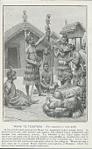 view Painting by James Mc Donald of Man, Tohunga-Whakairo (Sacred Wood Carver) Showing Tekoteko (Wood Finial Figure) to Group Of Men; All in Costume Outside Meeting Houses and Pataka (Platform Storehouse) digital asset: Painting by James Mc Donald of Man, Tohunga-Whakairo (Sacred Wood Carver) Showing Tekoteko (Wood Finial Figure) to Group Of Men; All in Costume Outside Meeting Houses and Pataka (Platform Storehouse)
