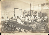 view Students Inside Art Studio During Art Class; Paintings on Wall 1904 digital asset number 1